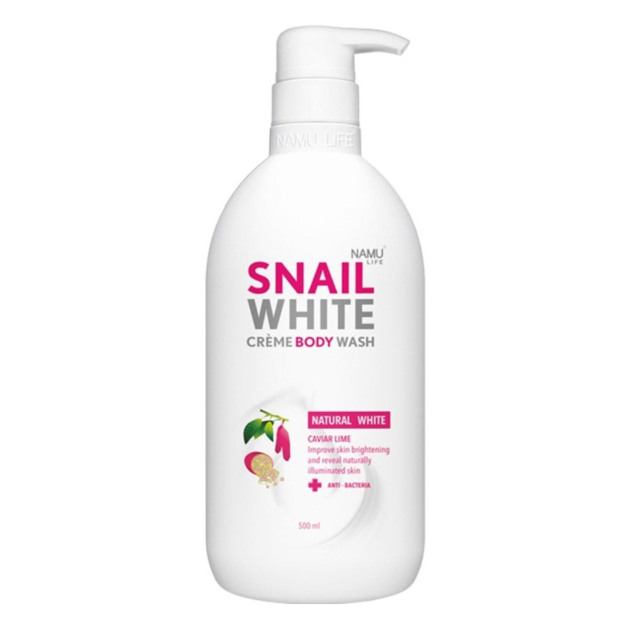 Тайский крем-гель для душа NAMU LIFE SNAIL WHITE CREME BODY WASH Natural White Caviar Lime 500 мл.