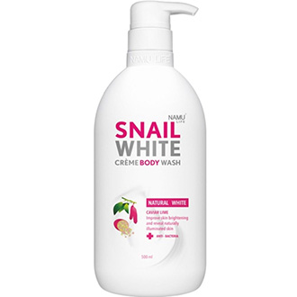 NAMU LIFE Snail White Natrual Creme Body Wash Natural White Caviar Lime 500 ml. Thailand